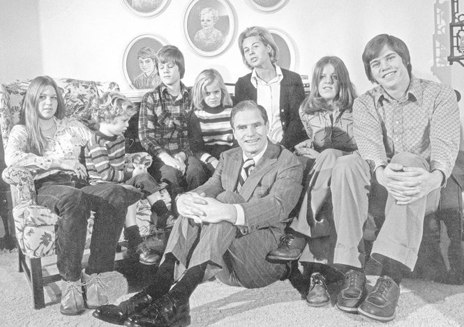 The Byrne family in their house in West Orange. Left to right. Nancy, 16, William, 4, Timothy, 12, Barbara, 6, Governor elected Brendan Byrne, Mrs. Jean Byrne, Susan, 17, and Brendan Jr., 19. (Star-Ledger file photo)