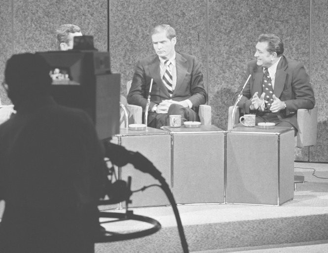 Brendan T. Byrne and Charles Sandman during a gubernatorial television debate on NBC, at Rockefeller Center in 1973. (Star-Ledger file photo)