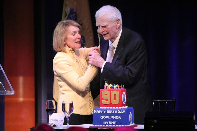 Byrne dances with his wife Ruthi during a 90th birthday roast at NJPAC in April 2014 (John Munson | The Star-Ledger)
