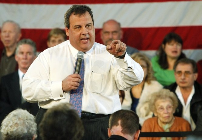 Governor Chris Christie at a town hall meeting at the Roebling Fireman's Hall in Roebling on Thursday, March 8, 2012.
