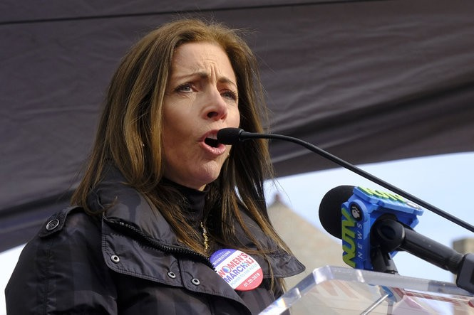 Tammy Murphy, New Jersey's new first lady, tells her story of sexual assault to the crowd at the Women's March on New Jersey in Morristown on Saturday. (Aristide Economopoulos | NJ Advance Media for NJ.com)