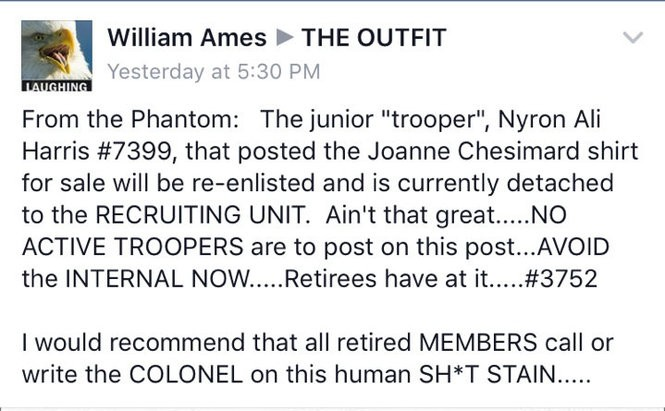 """A post on the private Facebook group """"The Outfit"""" allegedly led to the firing of a New Jersey state trooper."""