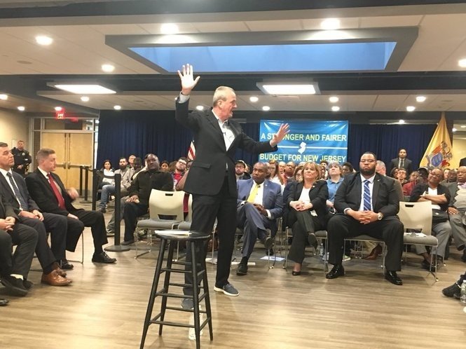 Gov. Phil Murphy hosts a town hall Wednesday at a recreational center in Willingboro in Burlington County.