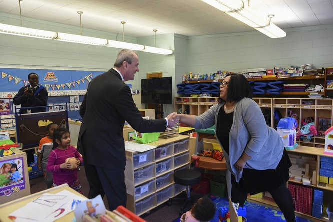 Gov. Phil Murphy visits John F. Kennedy Elementary School in Jamesburg on Monday.
