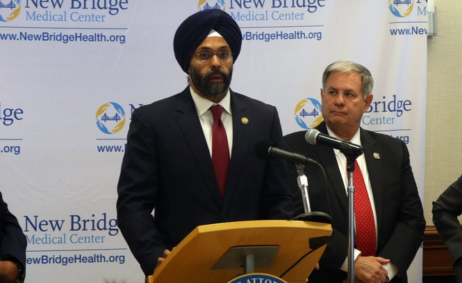 State Attorney General Gurbir Grewal speaks at a press conference at New Bridge Medical Center in Paramus on June 27, 2018.