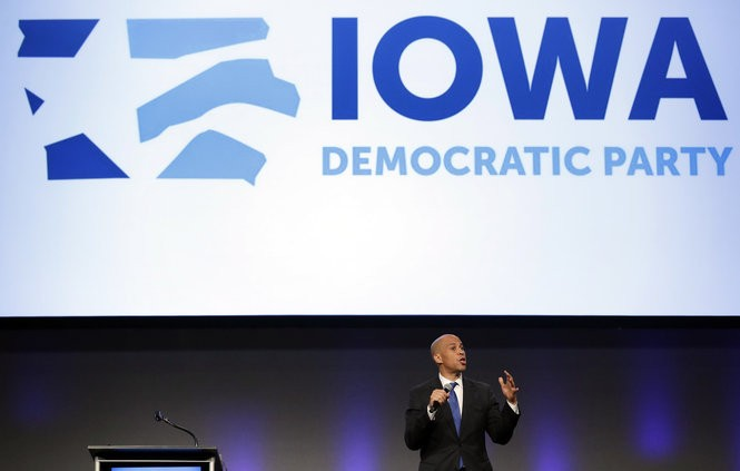 U.S. Sen. Cory Booker, D-N.J., speaks during the Iowa Democratic Party's annual Fall Gala, Saturday, Oct. 6, 2018, in Des Moines, Iowa. (AP Photo/Charlie Neibergall)