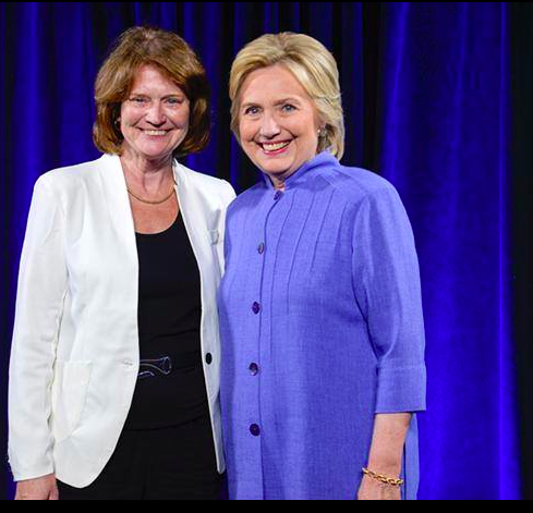 Ann Twomey, president of Health Professionals and Allied Employees, with Hillary Clinton at a union event. (Ann Twomey)