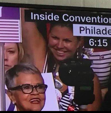 Laura Matos, (r) NJ delegate at the DNC 2016. REp. Bonnie Watson Coleman (D-N.J.) is next to her.