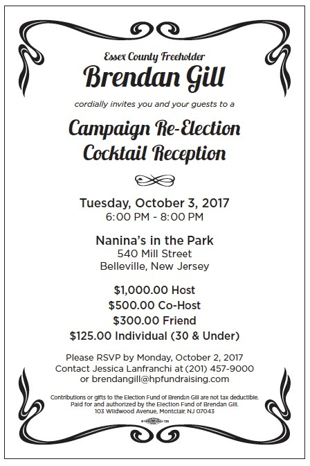 An invitation to Gill's most recent fundraising reception held last month by the Essex County freeholder.