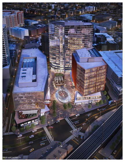 """An artistic rendering of """"The Hub,"""" which is planned for downtown New Brunswick."""
