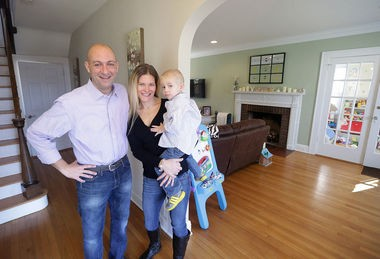 Hugh and Tina McAleavy with their son Michael, 3, inside their renovated Somerville home. (John O'Boyle   NJ Advance Media)