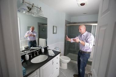 McAleavy in the new master bathroom.(John O'Boyle   NJ Advance Media)
