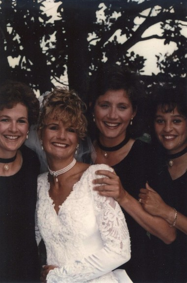 Julie Hermann, second from right, hired as Rutgers athletic director in May, was a bridesmaid at the 1995 wedding of Ginger Hineline, second from left.