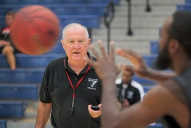 Gerry Matthews coaches at practice earlier this month.