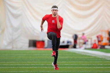 Corey Crawford, a graduate of Indian Hills High School in Bergen County, gets a leg up during a workout at Rutgers.
