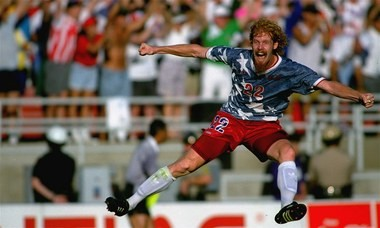 Alexi Lalas celebrates a Team USA upset over Colombia in 1994. He left Rutgers before completing his degree to chasing his dream of becoming a professional soccer player.