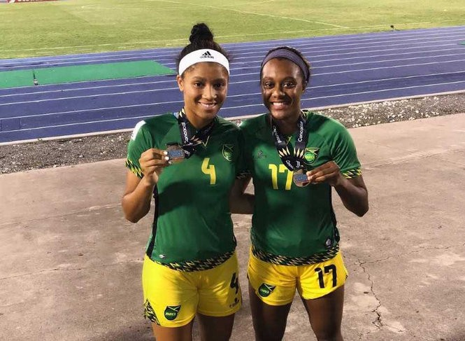 Allyson and Chantelle Swaby after Jamaica clinches a berth in the 2019 Women's World Cup.