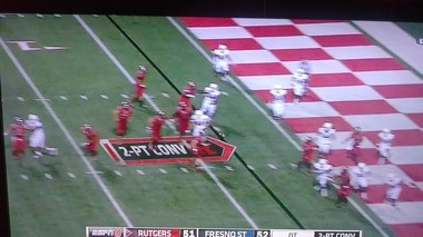 Rutgers' 2-point conversion in overtime