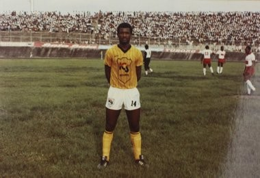 A photo of Etienne Longa during his time as a soccer player in Cameroon.
