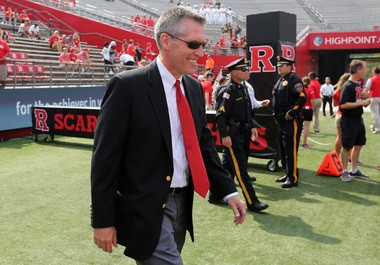 Athletic Director Pat Hobbs walks onto the field before the Rutgers football home opener versus Howard at High Point Solutions Stadium. 9/10/16 Piscataway, N.J.