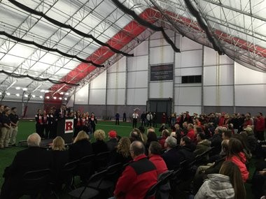 Rutgers athletic director Pat Hobbs speaks to a crowd of donors and VIPs at a dedication ceremony for the indoor baseball and softball practice facility in January.