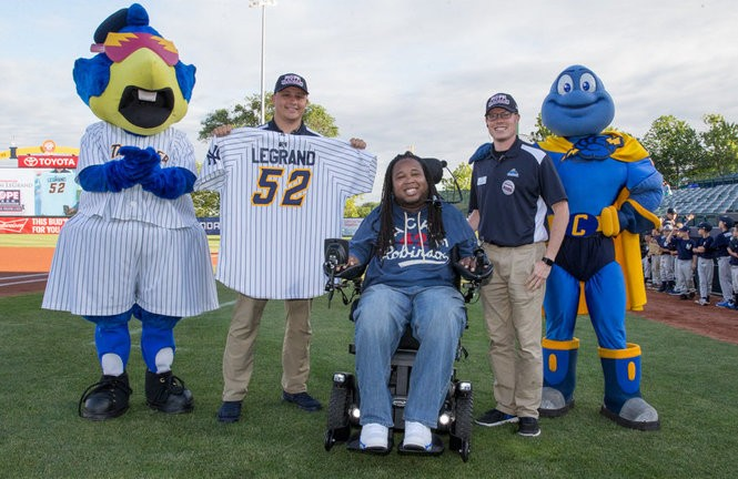Former Rutgers football star Eric LeGrand spoke to members of the Trenton Thunder baseball team as part of the Yankees initiative HOPE Week. (Photo by Michael Dill)