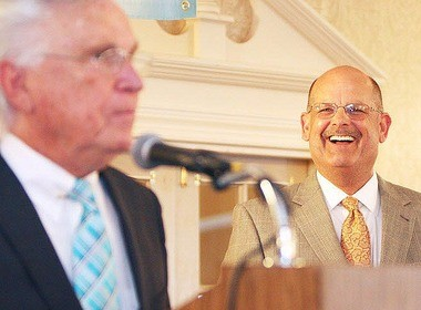 Salem County Chamber of Commerce board member John Bobbitt, right, laughs at a joke by Spring Banquet master of ceremonies Rev. Dave Bailey at the event Thursday night at the Centerton Country Club in Pittsgrove.