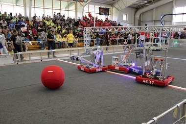 """""""Duel on the Delaware"""" Robotics Competition on Saturday held at Salem Community College's DuPont Field House, hosted hundreds of people at the event made up of 33 high school student teams from in New Jersey, Delaware, Pennsylvania, New York, Vermont and Maryland. Equipped with the robots they spent weeks and countless hours building, the teams battled each other in various athletic-type events with their robotic creations. (Spencer Kent 