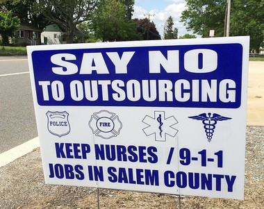 Signs have popped up around Salem County which urge rejection of privatization of the county's 911 dispatch center or its jail nursing staff. This one is seen along Route 45 in Mannington Township on Sunday. (Bill Gallo Jr. | For NJ.com)