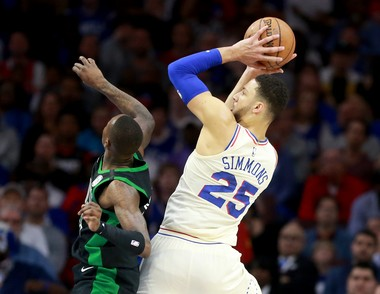 Sixers PG Ben Simmons (25) shoots over Celtics G Terry Rozier (12) during the first quarter of game 3 in the Eastern Conference Semifinals at the Wells Fargo Center, Saturday, May 5, 2018.