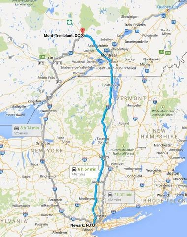 Tremblant is about a seven hour drive north of Newark, N.J. as illustrated in the Google map. It's pretty much a straight shot through New York State and then bearing left in Montreal.