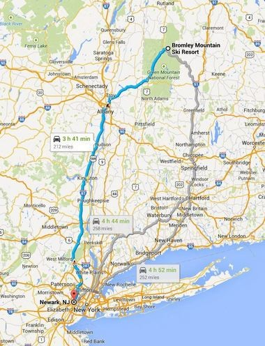 Bromley is a 3 hour and 45 minute drive from Newark, N.J. via the New York Thruway. Just turn right in Troy, N.Y. as illustrated in this Google map.