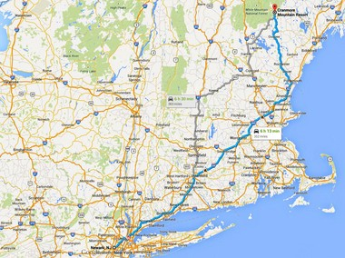 Cranmore Mountain Resort is located in eastern New Hampshire, about a 6 hour and 15 minute drive from Newark, N.J. as illustrated in this Google map.
