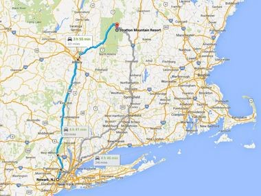 Stratton is about a four hour drive north of Newark, N.J. as illustrated in this Google Map.