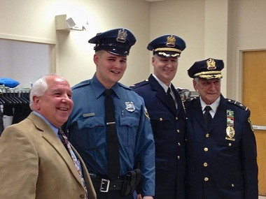 Chief William Parenti (right center) and his son, Officer William Parenti Jr. (left center), are caught up in several controversies over the 22-year-old's arrest on DWI charges last week and allegations from union leaders that the Chief may have used improper means to have his son hired as an officer.