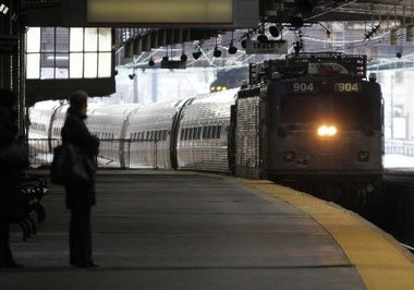 """Amtrak officials are planning to construct a """"tunnel box"""" to carry the proposed the Gateway tunnels across the area targeted for the Hudson Yards development on Manhattan's west side. Above, an Amtrak train pulls into Newark Penn Station in February 2011."""