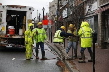 Utility crews work to restore Main Street in Bound Brook in this file photo.