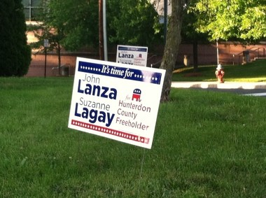 A sign posted in Flemington to promote Republican freeholder candidates John Lanza and Suzanne Lagay.