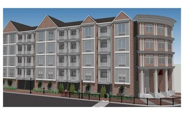 An architectural rendering of Meridia Main Street Station, a 240-unit luxury apartment complex under construction in Bound Brook.