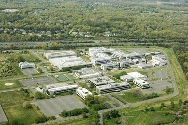 An aerial view of the former Sanofi corporate campus in Bridgewater, where developers are proposing a mixed-use town center project.