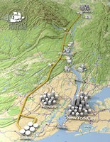 A 3D map of a possible oil pipeline route to bring crude oil from Albany, N.Y. to Linden, N.J.. Pilgrim Pipeline officials say the pipeline would reduce the number of barges in the Hudson River, though environmentalists are still concerned about any impact to the Highlands.