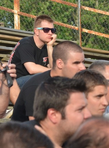 NASCAR driver Jason Leffler listens during the drivers' meeting before racing at Bridgeport Speedway, Wednesday, June 12, 2013. (Photo by Tom Scott/South Jersey Times)