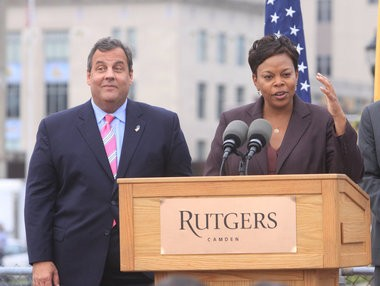 Gov. Chris Christie joins Rutgers President Robert Barchi, State Sen. Donald Norcross, Camden Mayor Dana Redd, RutgersâÂÂCamden Chancellor Wendell Pritchett, and Rutgers students to break ground for a new 100,000-square-foot building that will provide a state-of-the art learning and research space for Rutgers-Camden nursing and science students, Wednesday, Oct. 16, 2013. (Staff Photo by Calista Condo/South Jersey Times)