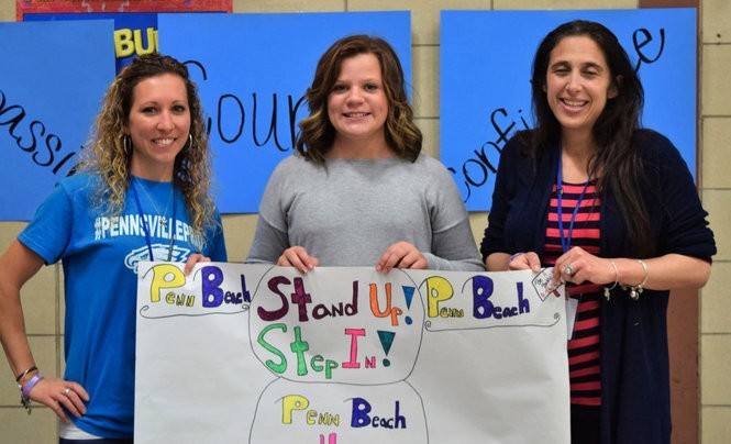 Pictured, from left, Lindsay Mulford, Isabella Griffin (guest speaker), and Cara Engler (Mulford and Engler are Penn Beach teachers). The teachers were instrumental in bringing Griffin to the school to present her program to the students.