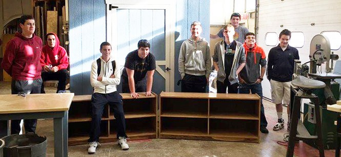 Students from Washington Township High School built bookshelves for the Margaret Heggan Library. Pictured are Eric Cullin, Colin Eggert, Kevin Eliasen, Eric Fernee, Chris Gaffney, Shawn Horn, Joel Montanez, Greg Rafter, and Eric Reckard.