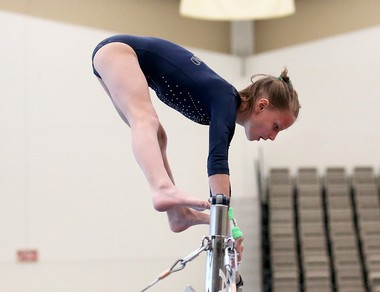 Ashley Armstrong, of Star Bound Gymnastics Academy in Bridgeton, competes on the uneven bars during the USAIGC Regional Gymnastics Championships at the Wildwoods Convention Center, Saturday, May 27, 2017.