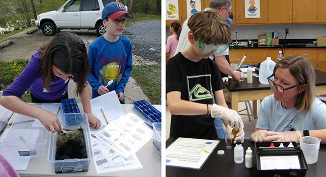 Fifth-graders Emily Westenberg and Joe Reilley examine macro invertebrates on a visit to Grenloch Lake. Fifth-grader Seth Bosco and Environmental Commission member Karen Carraro do lab tests at Orchard Valley Middle School.