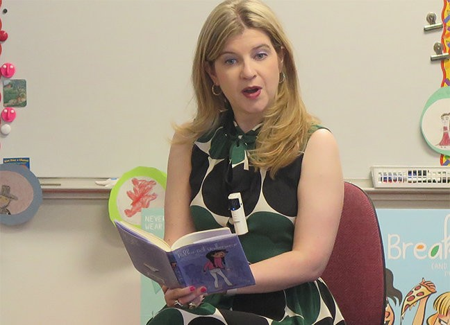 """Visiting author Allison Gutknecht brought her main character, Mandy Berr, to life while reading an excerpt from her book, """"Don't Wear Polka-Dot Underwear with White Pants (and Other Lessons I've Learned),"""" to a captive Birches Elementary School audience."""