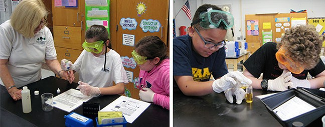 Environmental Commission member Ann Culkin helps fifth-graders Kayla D'Ottaviano and Maddie Gleason with their lab work. Fifth-graders Nick Ghee and Monte Richards test for pH.