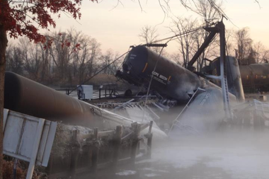 A rail car leaks vinyl chloride gas in a November 30, 2012, derailment and spill in Paulsboro.
